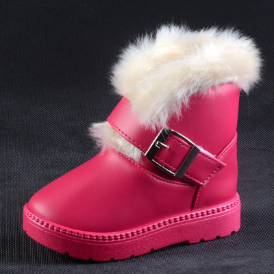The new winter boots shoes cotton padded shoes for boys and girls baby shoes tide PU face child warm snow boots