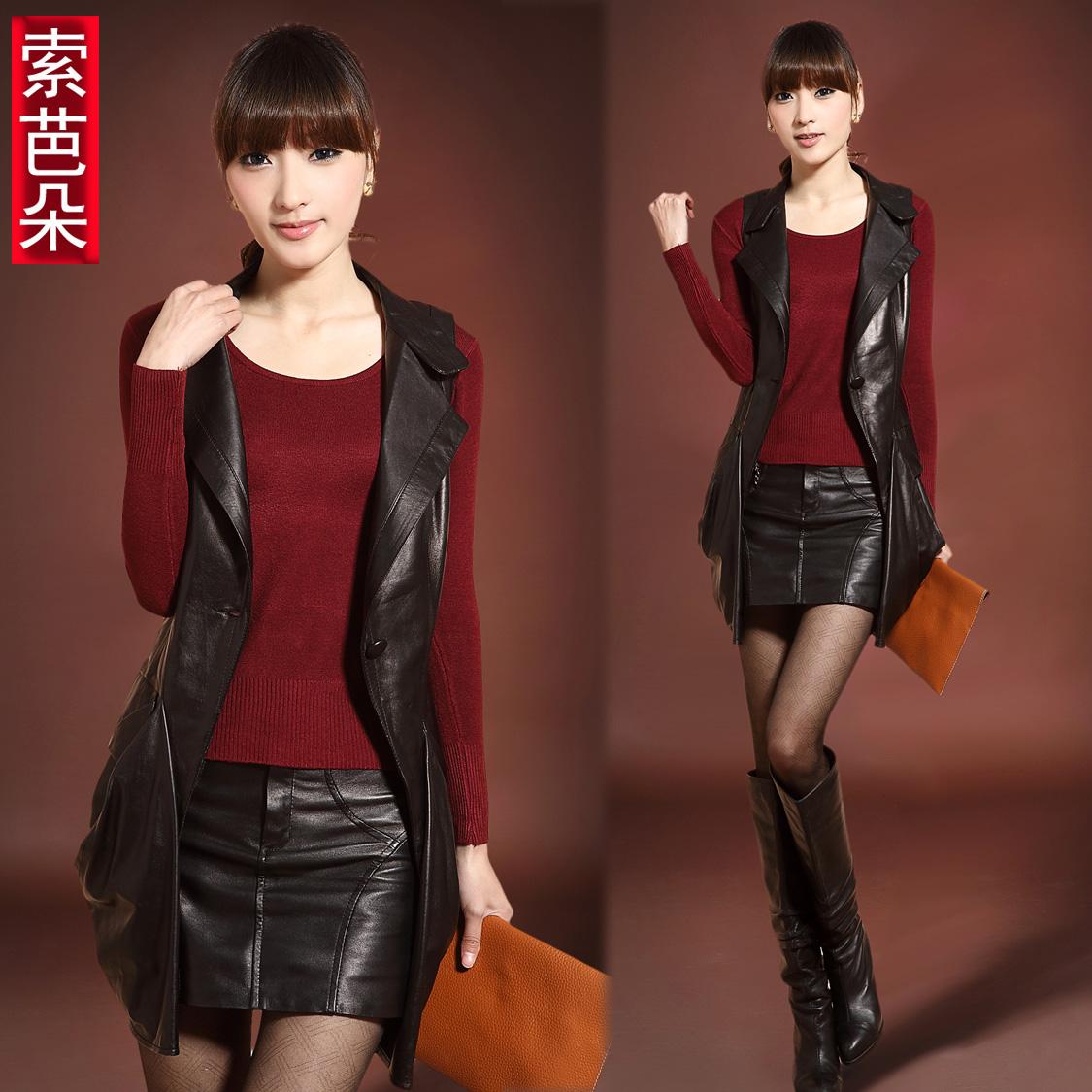 Стильные жилеты женские кожаные