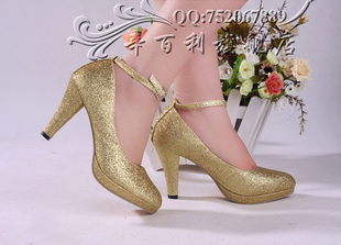 2011 new style Xin Baili counter authentic BVBQ3  red Bridal Shoes Wedding Shoes high heel danxie