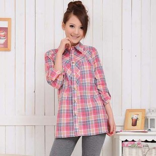 Add your maternity dresses spring summer Korean Plaid Shirt women long sleeves cotton adjustable pregnant women shirts