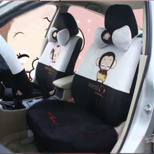Thicken cartoon car seat cover miles of charm in winter He monkey winter super soft 18 piece car seat cover set