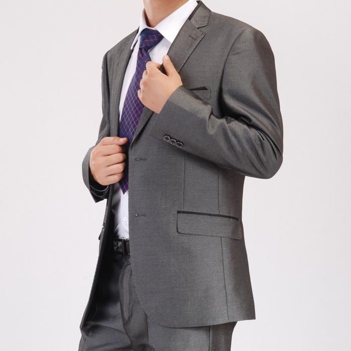 相爱树银灰色韩版休闲西装 黑色男士修身西服套装 新郎结婚礼服