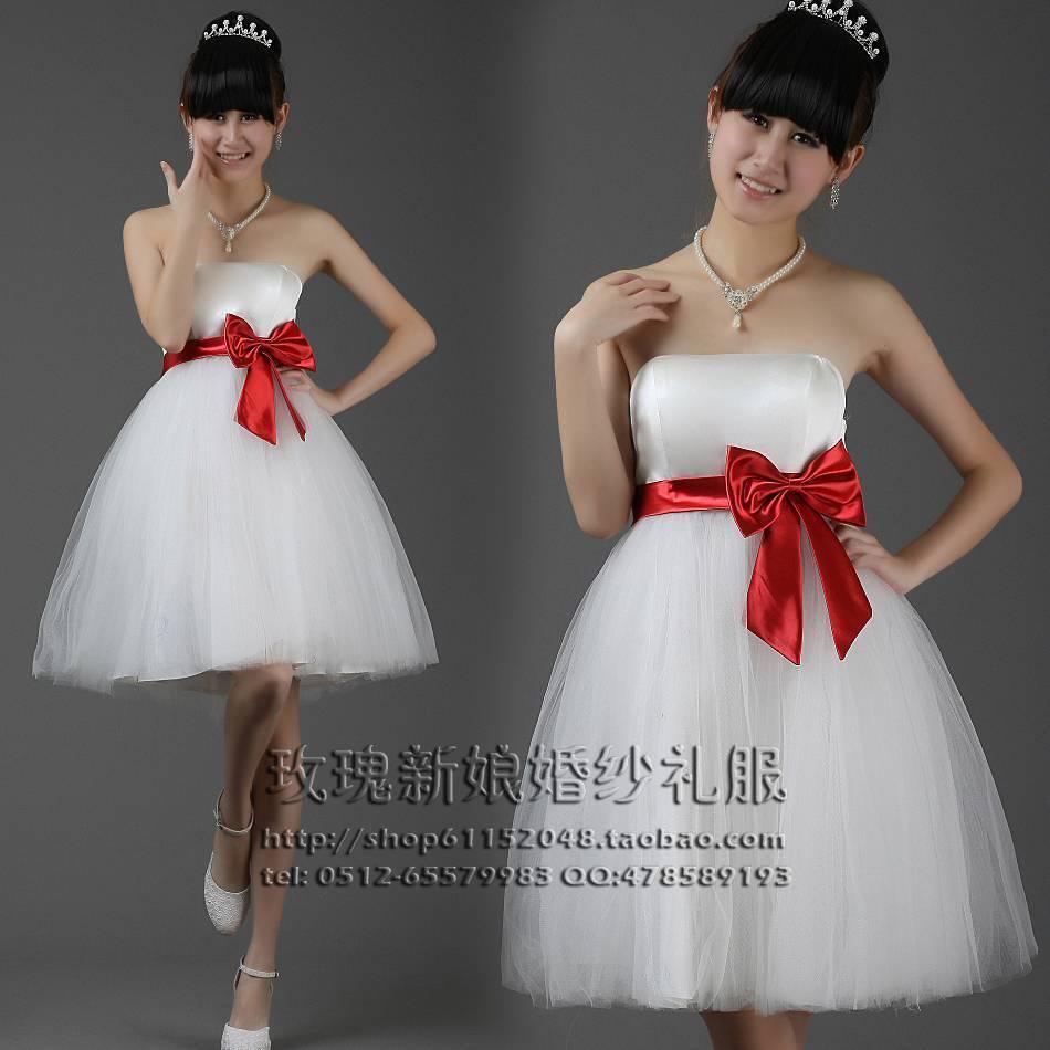 Вечернее платье 高腰 热销款婚纱小礼服/结婚伴娘礼服短款婚纱礼服伴娘服
