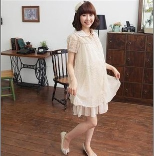 2012 Korean summer maternity dresses fashion dot chiffon dress women chiffon dress