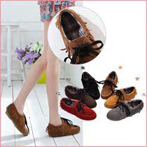 特价 新款休闲靴子女鞋前系带单靴磨砂皮平跟个性流苏短靴B529