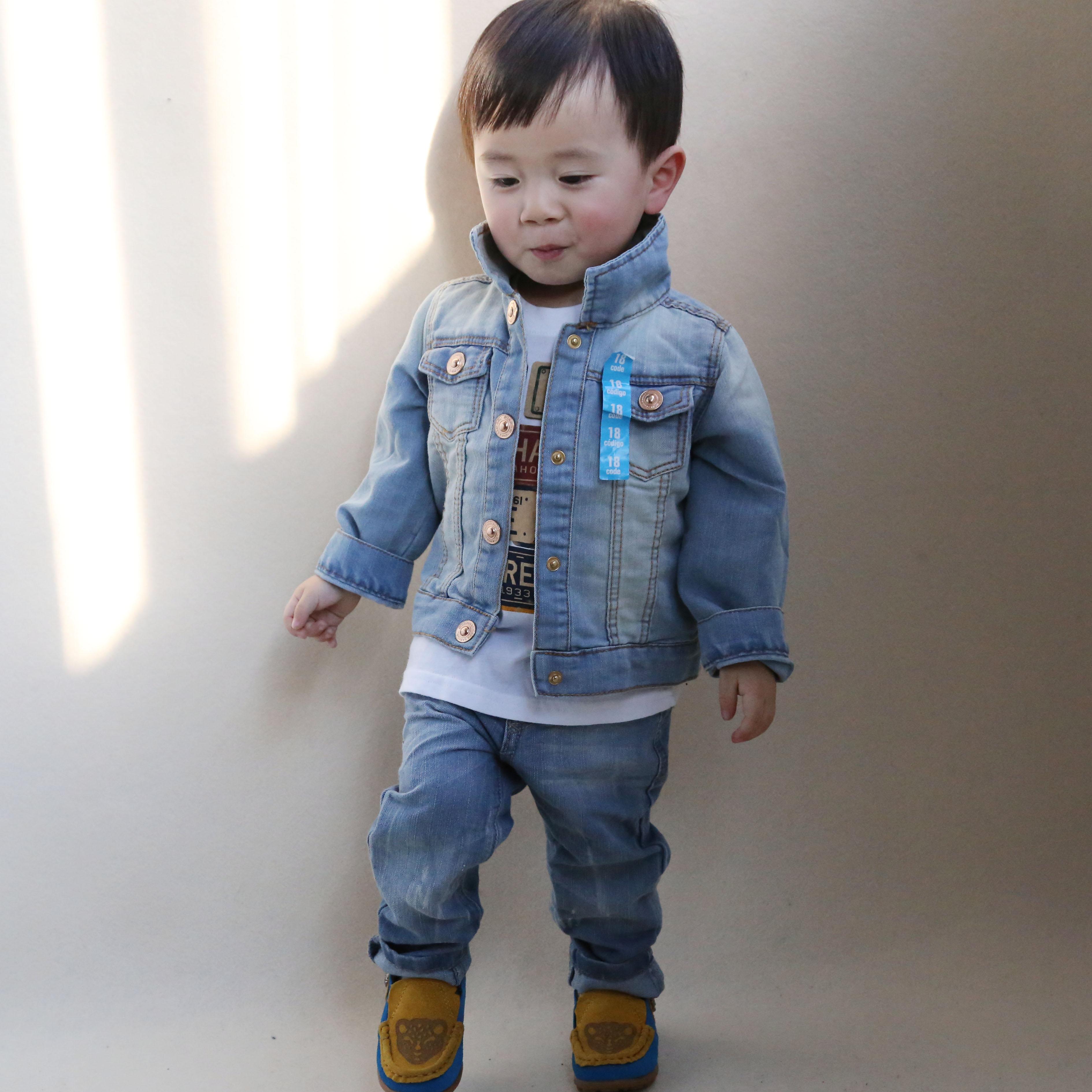 детский жакет 大牙缝2014春秋新款小童男童牛仔外套小中童牛仔衣男孩子上衣特价