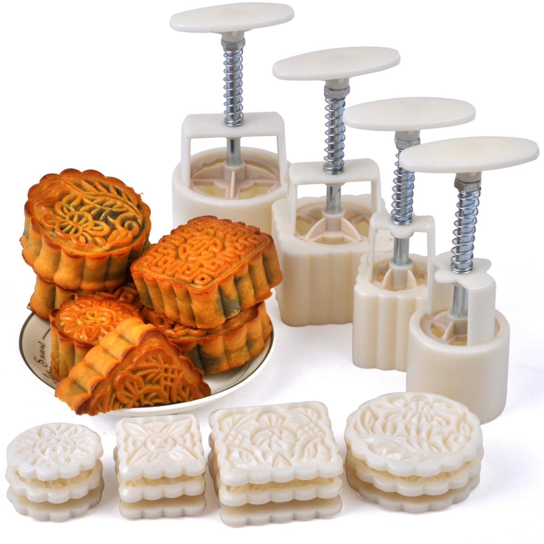 【月饼】千团精工月饼模具套装50-100克 冰皮月饼 手压按压式绿豆糕工具