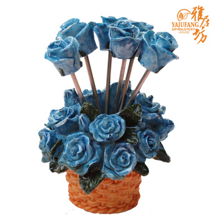 Delicious living, agile workshop creative home products stainless steel fruit fork forks ★ Blue rose flower basket of fruit