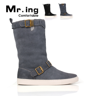 Mr.ing a comfortable matte leather and velvet daily couples high boots snow boots leisure shoes warm H065