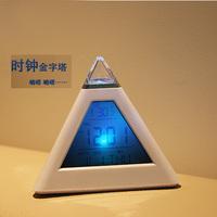 变色LED小闹钟创意可爱 带背光温度计电子钟 时尚闹表 简约床头表