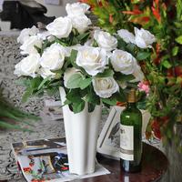 仿真玫瑰花 12头婚庆假花绢花家居装饰花插花客厅摆设捧花批发