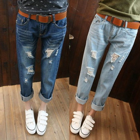 BF hole jeans female European and American style casual loose hole nine yards straight jeans female harem pants collapse
