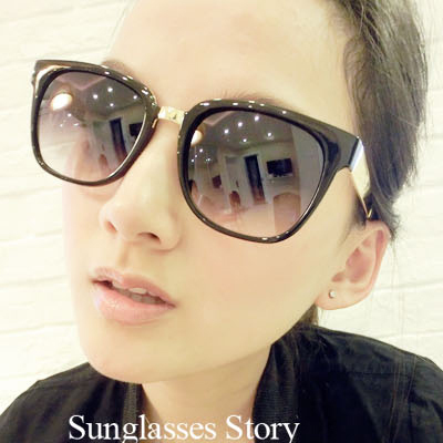 2014 round face and big box super black peppers sunglasses sunglasses influx of people male and female models retro star models big face