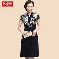 2014新款女装夏装中老年短袖连衣裙女妈妈装大码韩版修身显瘦裙子