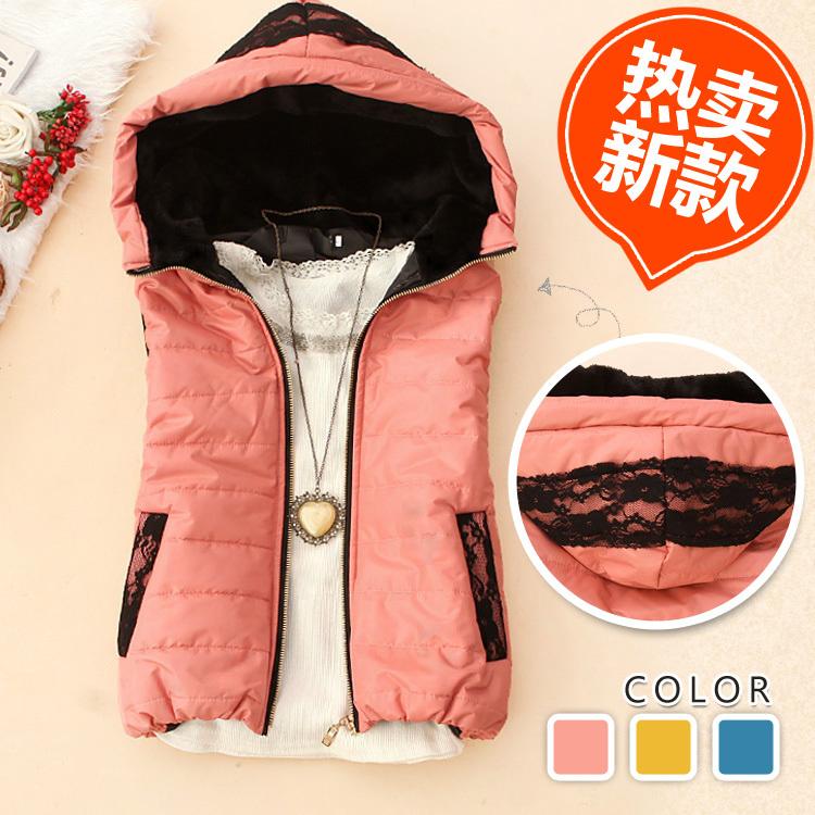 Женская жилетка 蔯 嬛 axq-u924 корейской версии 2012 осенью и зимой новый модель мода женщин кружева сплайсинга жилет плюшевые жилет ж-11