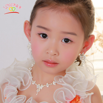 Princess Pearl Necklace Earring Sets Children princess diamond necklace pearl necklace bridal jewelry female children