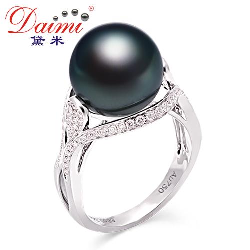 黛米珠宝 12mm 极亮泽 天然大溪地黑珍珠戒指正品 18K金 真钻