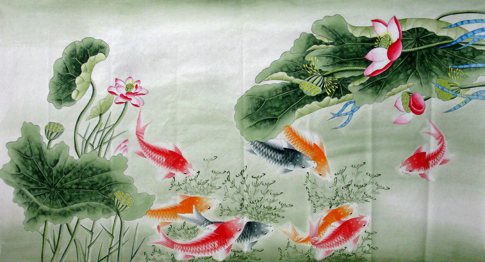 字画国画山水客厅画/韦娟六尺工笔荷花鱼2011-5-20-1