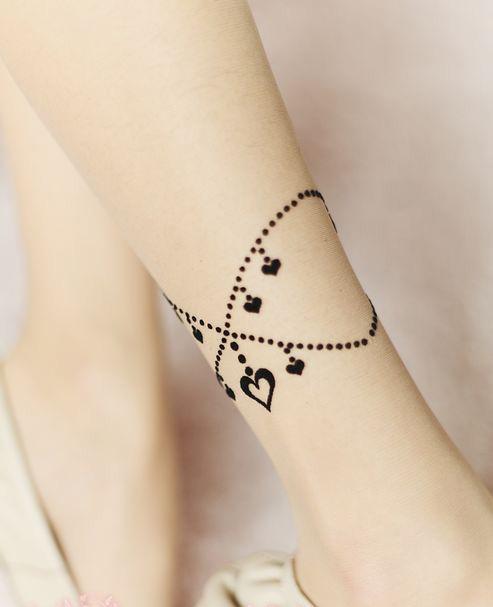 2013春夏 爱心脚链透肉刺青假纹身丝袜 包芯丝薄款性感显瘦连裤袜