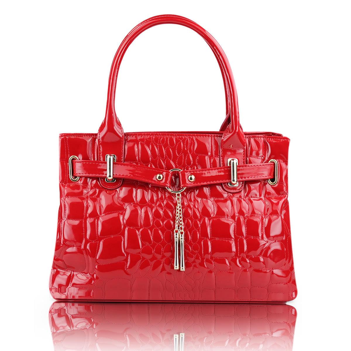 包包2012新款女包单肩包夏季韩版漆皮手提包时尚新娘包红色包邮