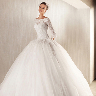 Lace one shoulder long sleeve winter wedding Princess pettiskirt 2013 new thickening out wedding dresses custom trail