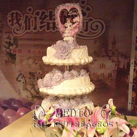 北京/预订婚礼蛋糕免费配送/结婚蛋糕速递/2012新款紫白/NO.14