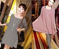 Korean style maternity t shirt , striped pregnant women blouses dress