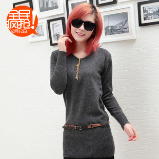 Korean decorative MaxMara ladies fashion metal LOGO tassel zipper sweater with girdle WX258