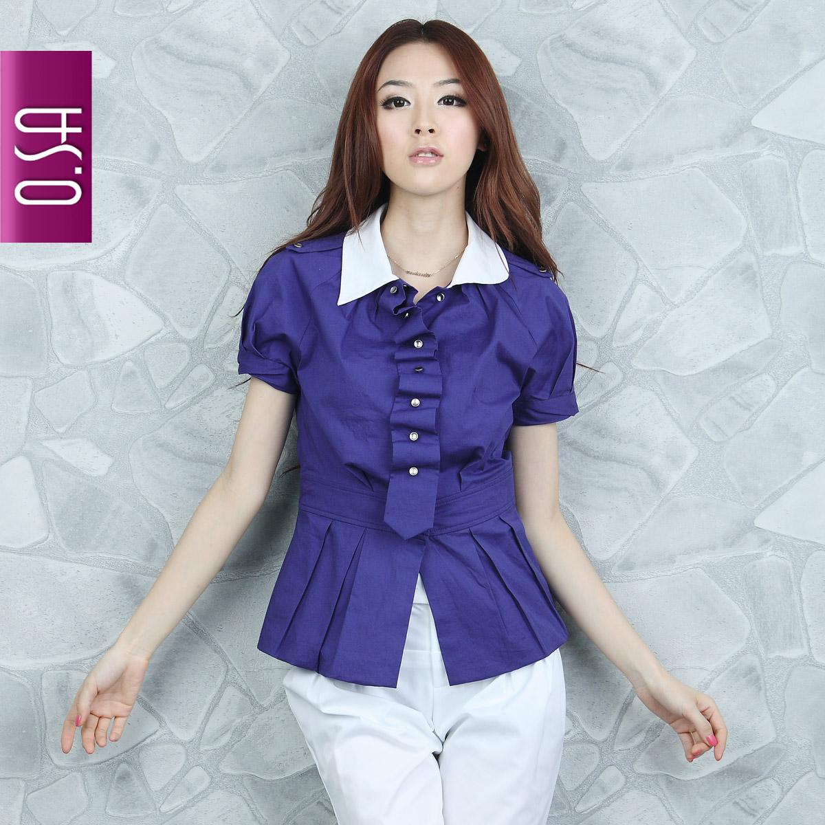 женская рубашка OSA sc00304 O.SA OL Casual Короткий рукав Однотонный цвет Воротник-стойка