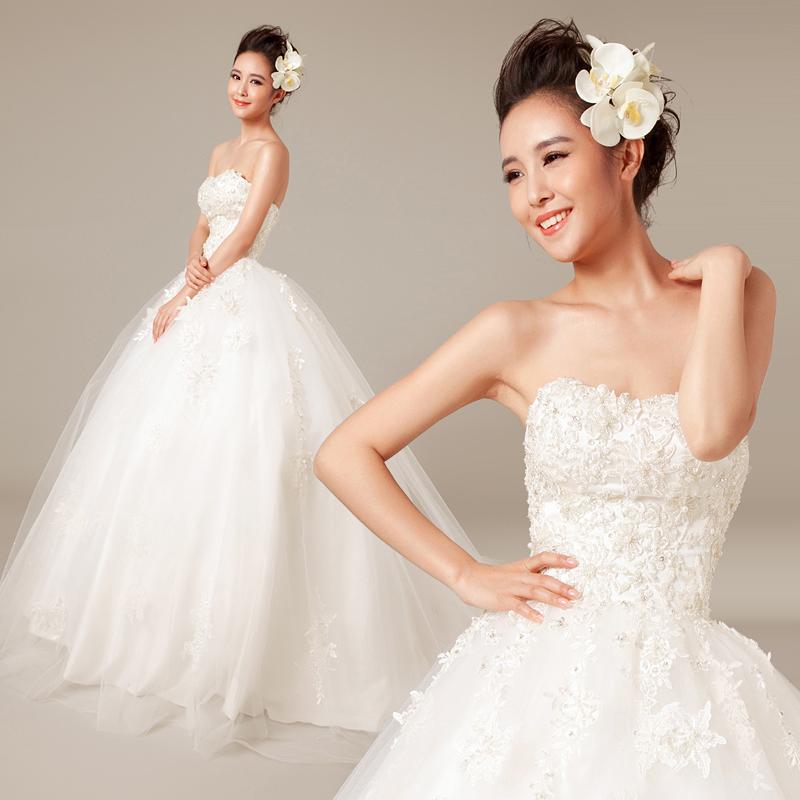 【衣纱布菲】微澜。2013新款原创抹胸水溶蕾丝小拖尾公主新娘婚纱