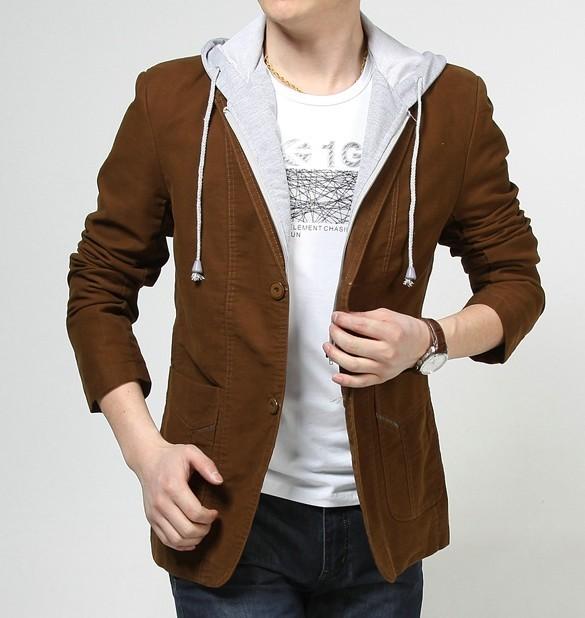 青少年男装外套休闲小西装男潮男士连帽西服中学生外套男个性修身图片