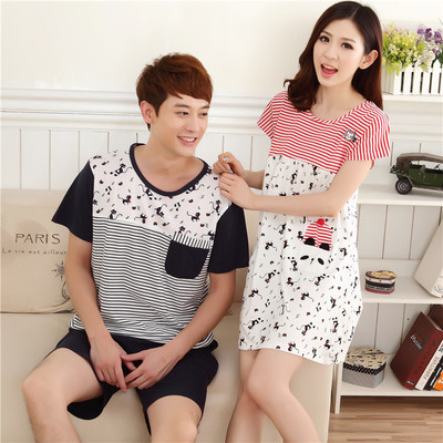 Free shipping Li Binuo couple pajamas nightgown Ms. Xia Chunqiu season summer cotton short-sleeved tracksuit men cartoon