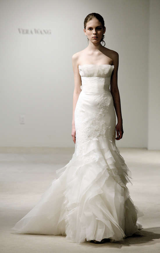 Mermaid Style Wedding Dresses Vera Wang : Vera wang mermaid wedding dress lace sleeves