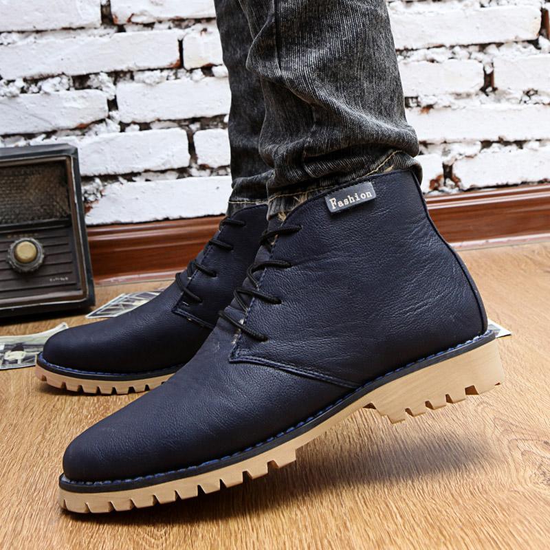 Полуботинки Сумки почты зимний мужской кашемировый теплая Обувь повседневная обувь Корейский тенденции в Англии и Мартин сапоги, ботинки снега сапоги мужские