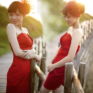 Luxury style red Delta short evening dress bride gown bridal toast clothing super beautiful new belly band