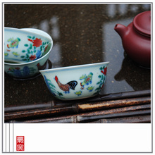 Owl kiln XY - CJ080D chenghua bucket color cups chicken cylinder cup Jingdezhen hand-painted archaize ceramic tea set