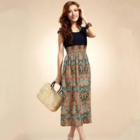 夏季连衣裙新款女装连衣裙显瘦拼接沙滩 波西米亚 雪纺连衣裙