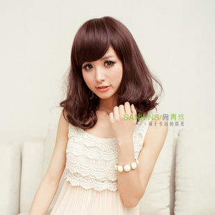 Female short hair curly hair wig long fluffy black hair wigs girls Bobo slanting fringe flower head