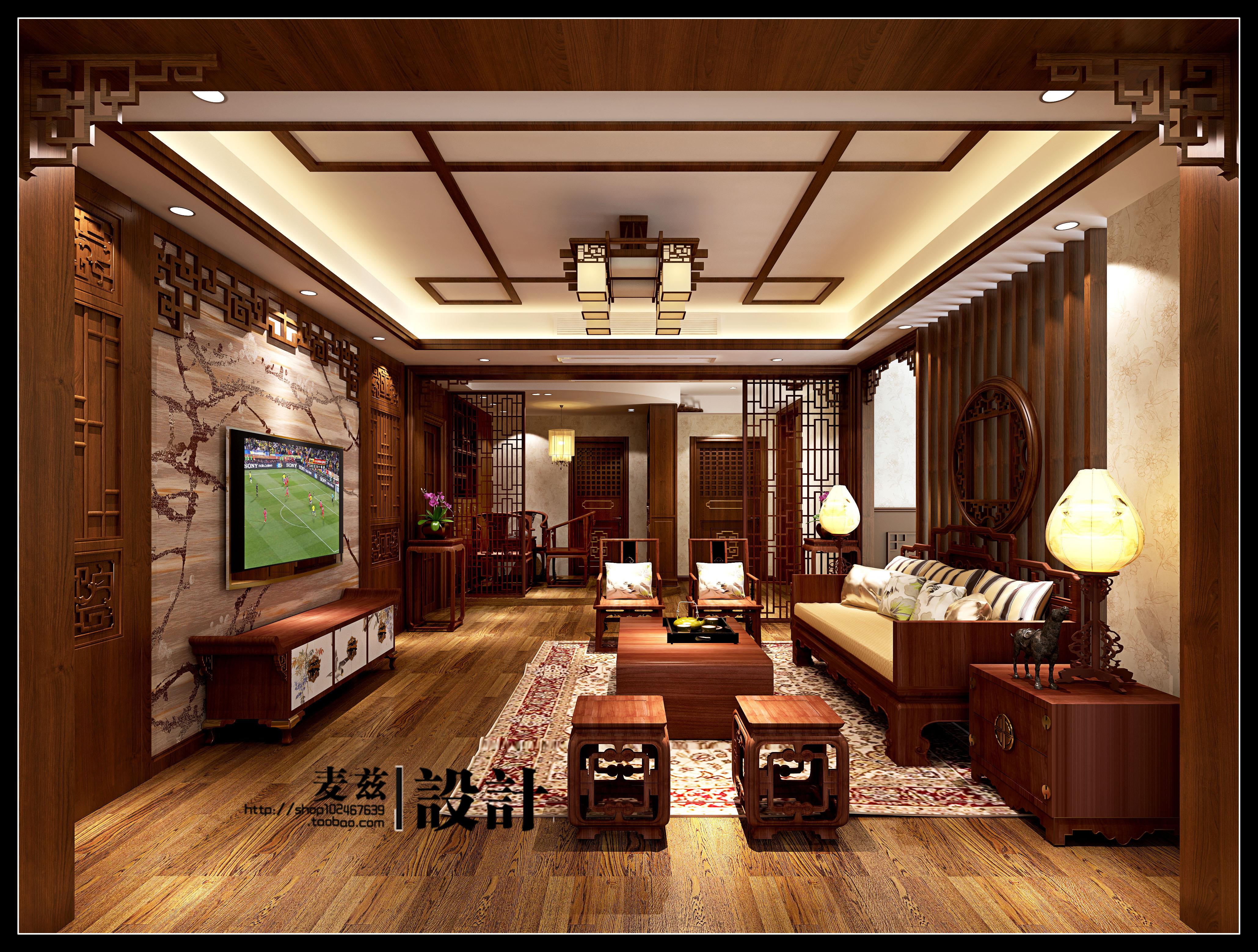 mz 中式风格室内装修家装设计服务平面图cad施工图效果图促销图片