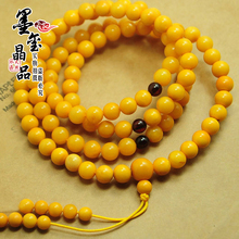 The old monk medallion Poland chicken oil yellow beeswax beads 108 diamond bracelet Amber wax beads hand string