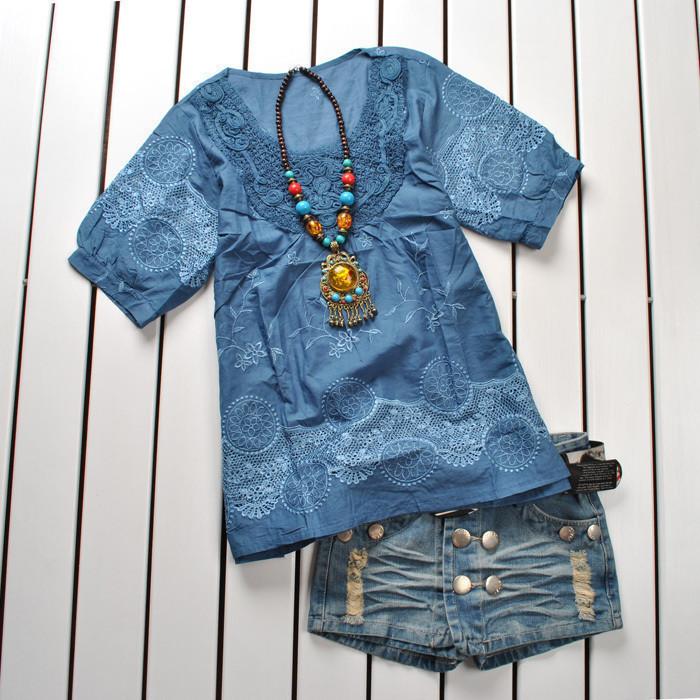 женская рубашка Ka Weiqi k1177 Casual Короткий рукав Закругленный вырез