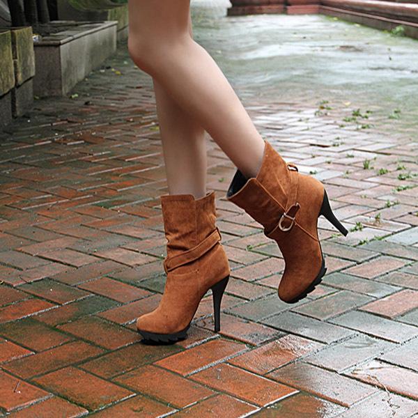 2011秋冬韩版新款女鞋子时尚齿轮底防水台高跟女靴子皮带扣短靴