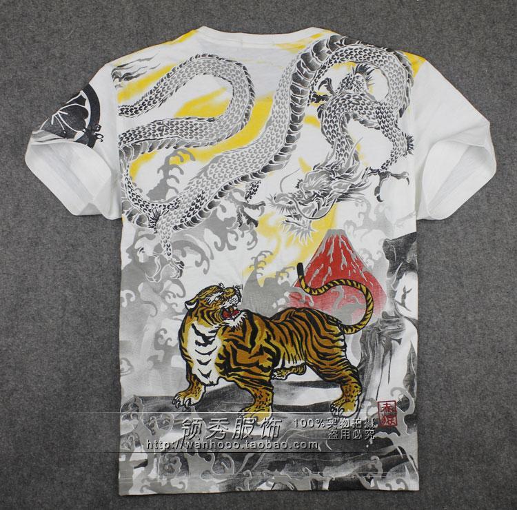 中国风新春夏款刺绣纹身龙虎 赤猿男士长袖t恤 日本潮牌鬼洗福神图片