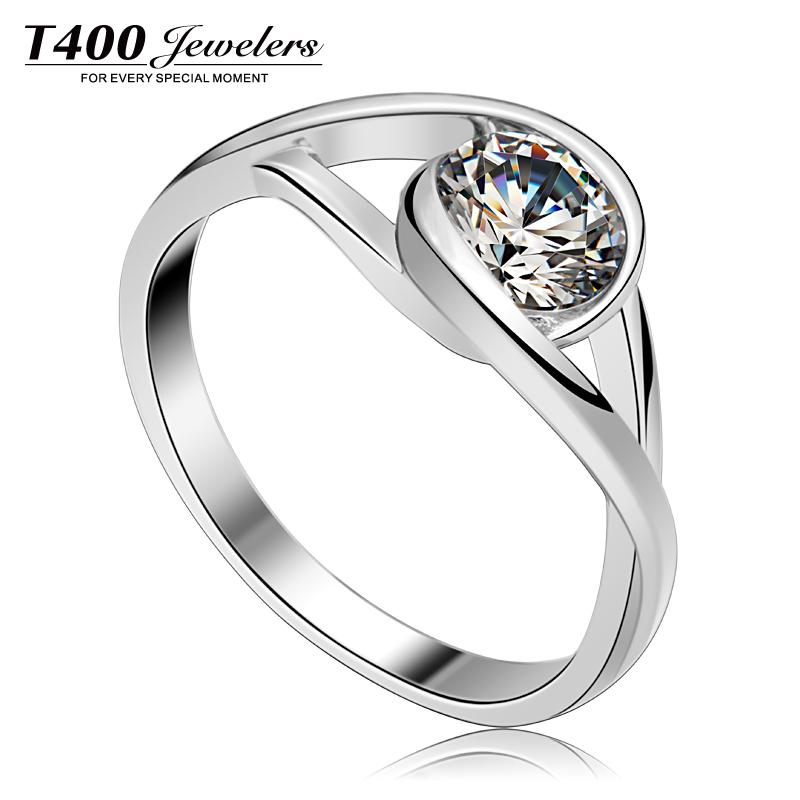 T400 镶嵌施华洛世奇锆石 925纯银 生日礼物 锆石戒指 拥抱