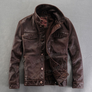2012 new style men's leather thick old Delta short cowhide leather men s leather jacket