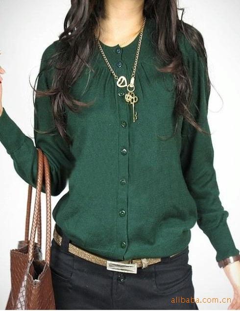 Трикотаж 2012 Осень новой корейской версии вне Кондиционер рубашку моды свитер джемпер пальто круглый шею свитер джемпер Глубокий круглый вырез