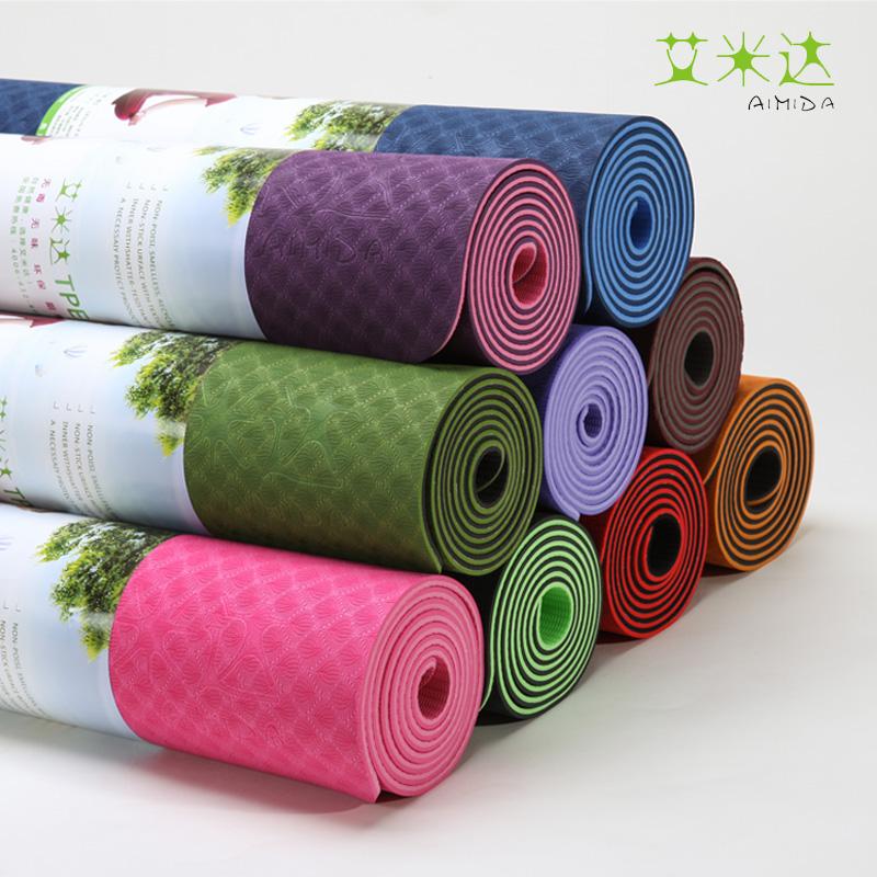 艾米达 瑜伽垫 tpe 加长防滑 环保6mm瑜珈垫 健身瑜伽毯包邮特价