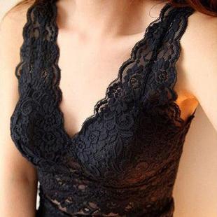 糖雅诗女士胖mm蕾丝背心加肥加大码吊带内衣中长款上衣带胸垫裹胸