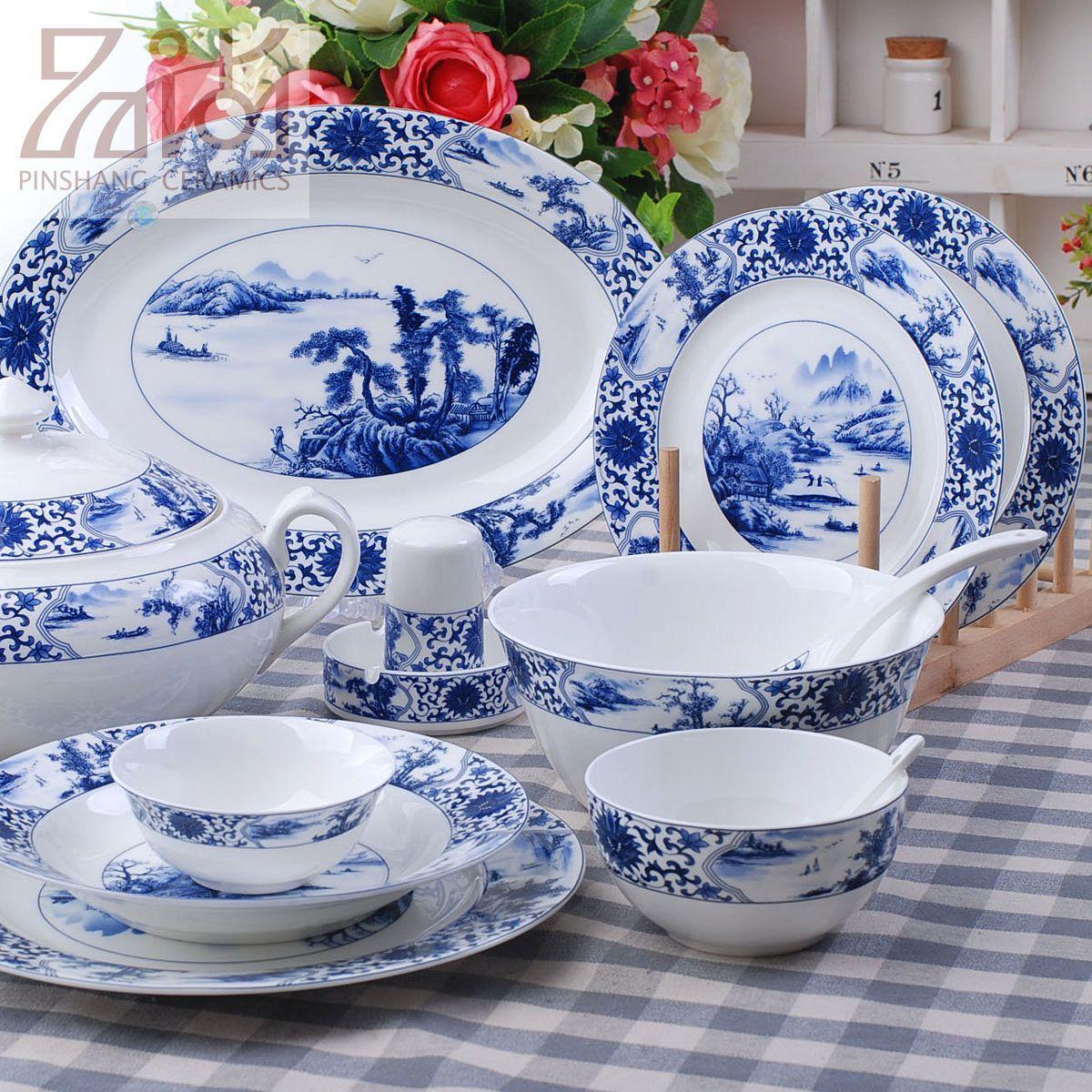 Европейский суд 56 высококлассные Jingdezhen керамическая синий и белый глазурью костяного фарфора посуда набор