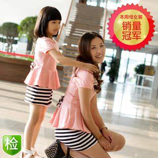 亲子时光已质检亲子装夏装母女装全家装韩国女童装连衣裙子